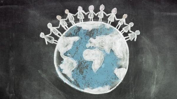 Tafelzeichnung Weltkugel mit Menschen GESELLSCHAFT creative *** Blackboard world globe with people