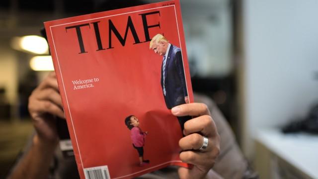 """US-Einwanderungspolitik: """"Welcome to America"""" - mit seinem ironischen Cover traf das Time Magazine einen Nerv, es wurde in den sozialen Medien dutzendfach geteilt."""