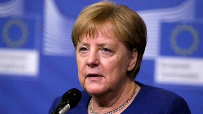 EU-Sondertreffen: Angela Merkel nach dem Sondertreffen in Brüssel.