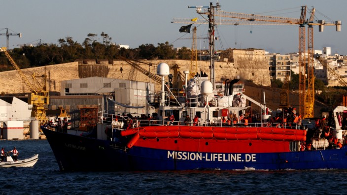 The charity ship Lifeline is seen at Boiler Wharf in Senglea, in Valletta's Grand Harbour