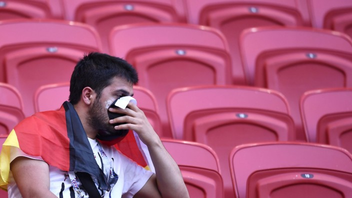 Fan der deutschen Nationalmannschaft bei der WM 2018 nach dem Spiel gegen Südkorea