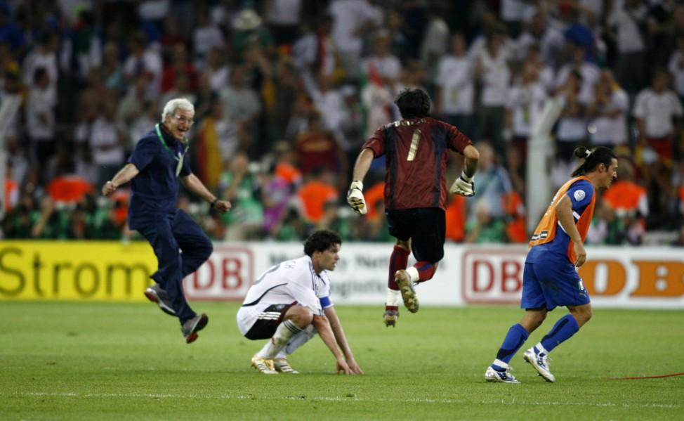 Italy coach Lippi, Italy's Buffon and Camoranesi celebrate near Germany's Ballack after their World Cup 2006 semi-final soccer match in Dortmund