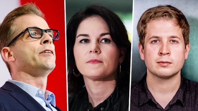 Koalitionskrise: Stefan Liebich, Bundestagsabgeordneter der Linken, Annalena Baerbock, Parteichefin der Grünen, und Juso-Chef Kevin Kühnert