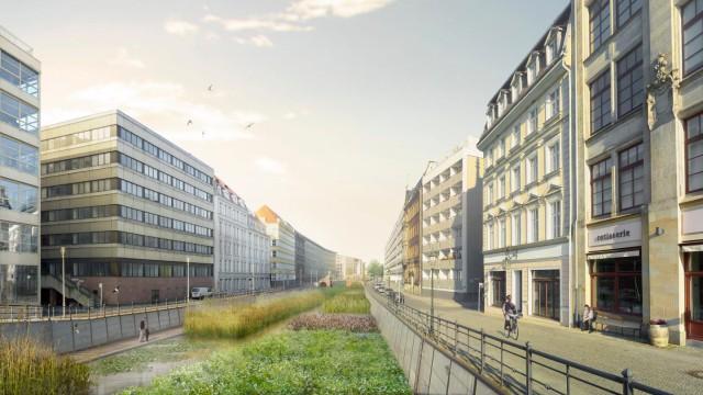 Perspektive Friedrichsgracht mit Pflanzen-/Kiesfilter