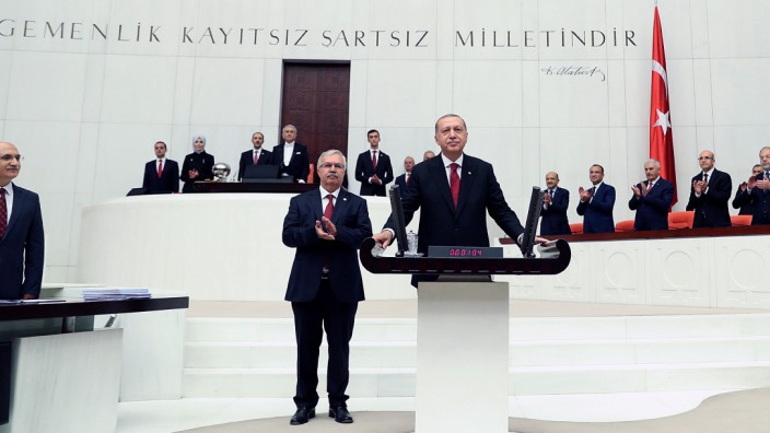 Turkish President Erdogan takes the oath of office for a new presidential term, at the Parliament in Ankara