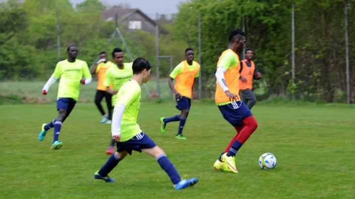 Fußballteam aus Flüchtlingen in München, 2017
