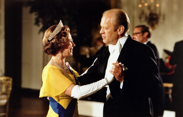 File photo of former U.S. President Gerald Ford dancing with Britain Queen Elizabeth at White House