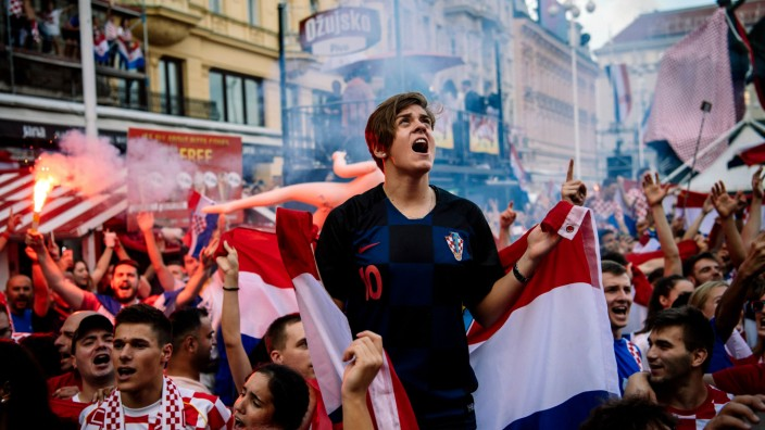 Kroatische Fußballfans beim WM-Finale Kroatien gegen Frankreich