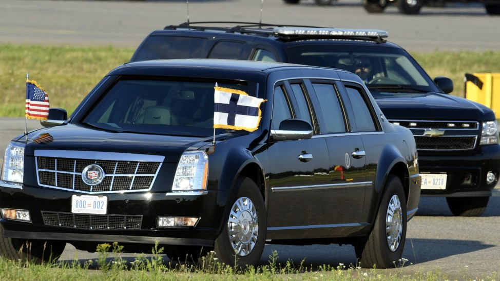 The U.S. Presidential limousine is seen prior to the arrival of U.S. President Trump in Finland