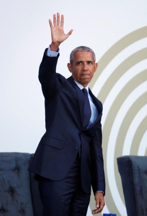 Former U.S. President Barack Obama arrives to deliver the 16th Nelson Mandela annual lecture
