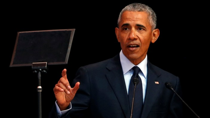 Former U.S. President Barack Obama  delivers the 16th Nelson Mandela annual lecture, marking the centenary of the anti-apartheid leaderÕs birth, in Johannesburg