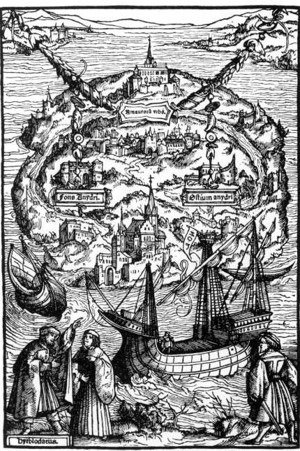 """Titelholzschnitt zu dem Buch """"Utopia"""", 1516"""