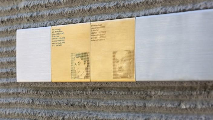 Eine Gedenktafel erinnert an die NS-Opfer Tilly und Franz Landauer.