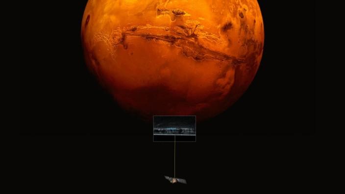 Weltraumsonde Mars Express beim Umkreisen des Mars