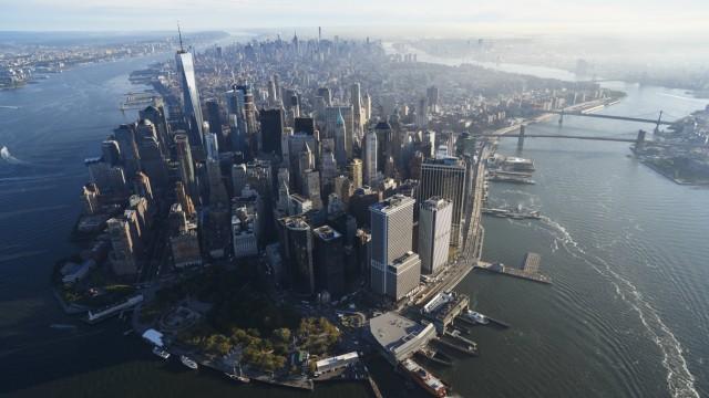 USA New York Aerial photograph of New York City and Manhattan Island PUBLICATIONxINxGERxSUIxAUTxHU