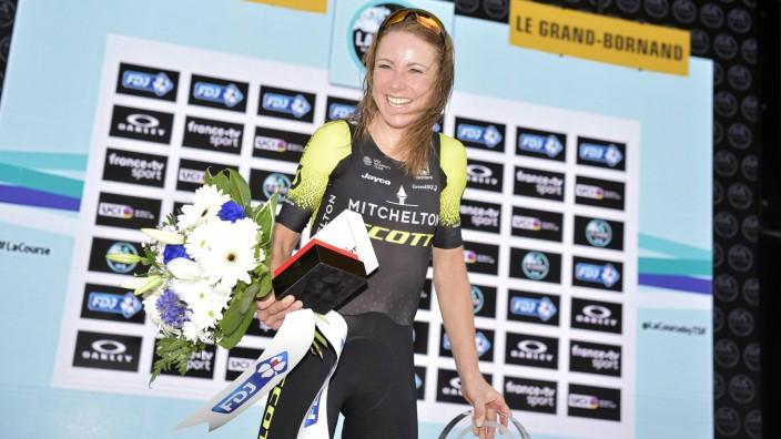 Dutch Annemiek Van Vleuten celebrates on the podium after winning the La Course by Le Tour de Franc