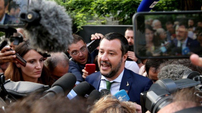 Italy's Matteo Salvini talks after a statement ahead of an informal meeting of EU's Home Affairs Ministers in Innsbruck