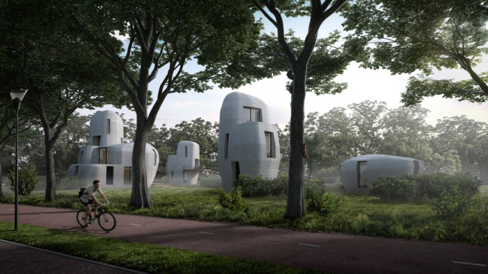 The 3D printed concrete housing project in Eindhoven. Image: Houben and Van Mierlo architecten