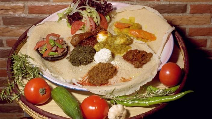 """Gericht in dem äthiopischen Restaurant """"Blue Nile"""""""