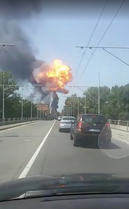An explosion is seen at Borgo Panigale, on the outskirts of Bologna
