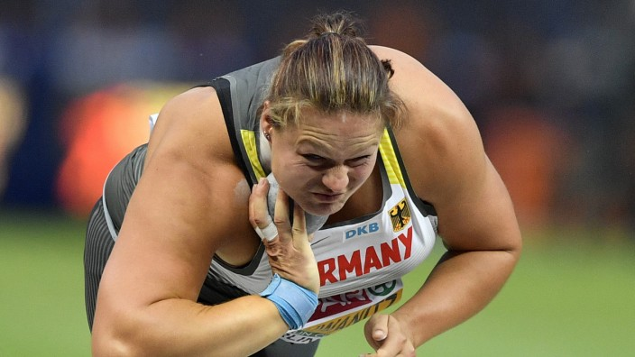 Kugelstoßerin Christina Schwanitz bei der Leichtathletik-EM 2018 in Berlin