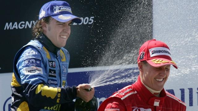 Formel 1 Magny-Cours - Podium Alonso Schumacher