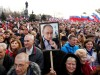 People attend a rally marking the fourth anniversary of Russia's annexation of Ukraine's Crimea region in the Black Sea port of Sevastopol