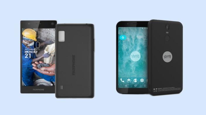 Fairphone und Shift: Die aktuellen Smartphonemodelle der Hersteller Fairphone und Shift.