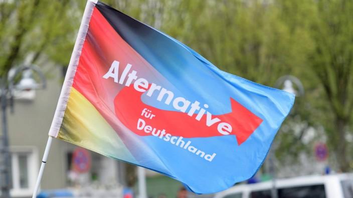 Essen Fahne bei der AfD NRW Wahlkampf Auftaktveranstaltung in Essen am 08 04 2017 Copyright xSchüle