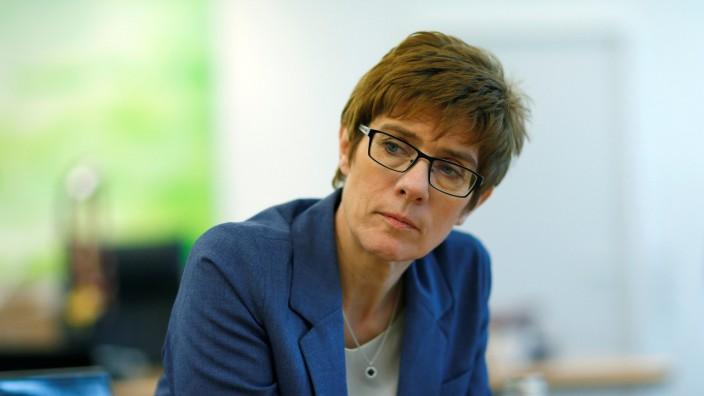 Annegret Kramp-Karrenbauer attends a Reuters interview in Saarbruecken