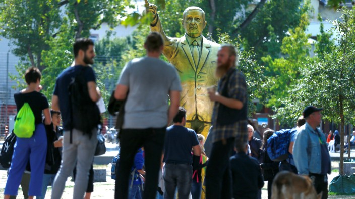 FILE PHOTO: A statue of Turkish President Tayyip Erdogan is seen during the art exhibition 'Wiesbaden Biennale' in Wiesbaden