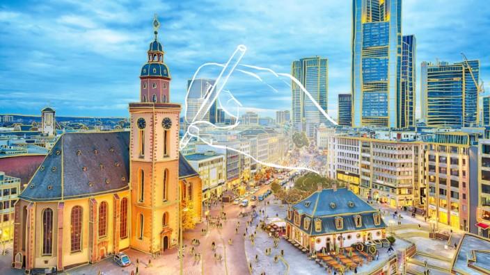 """Städtereise-Serie """"Bild einer Stadt"""": Die Hauptwache mit der Katharinenkirche, dahinter die neuen Wahrzeichen Frankfurts."""