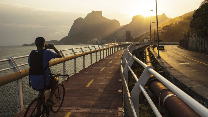 August 9 2016 Rio De Janeiro Rio Brazil RIO DE JANEIRO BRAZIL AUGUST 09 Cyclists peddle in