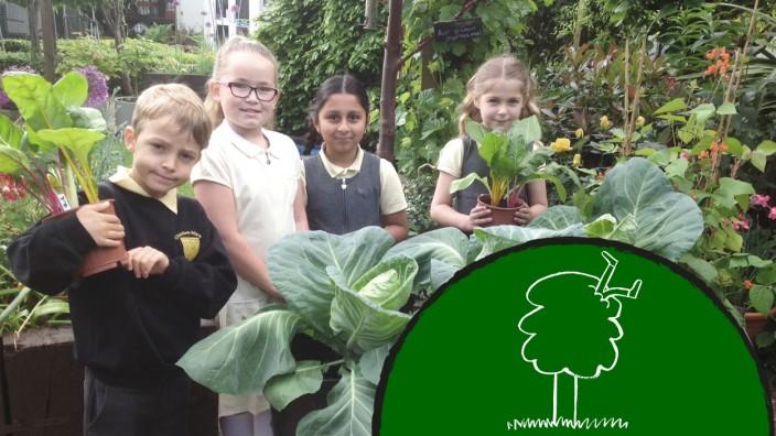 Bildung: Schüler der Charlton Manor Primary School im Schulgarten
