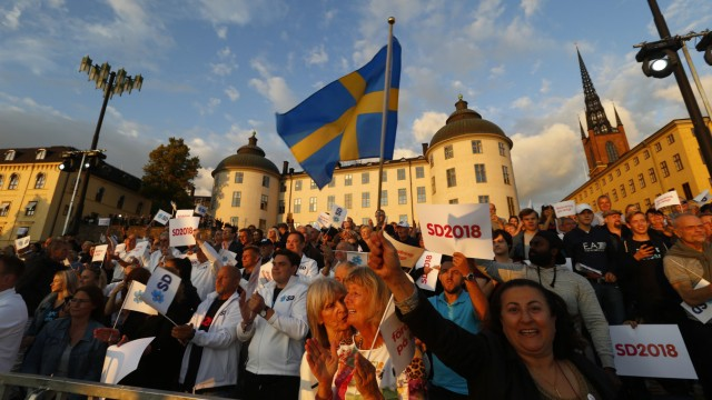 Sweden Democrats party supporters attend an election campaing in Stockholm