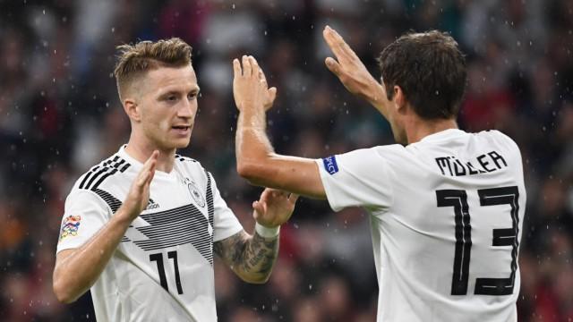 Marco Reus und Thomas Müller 2018 beim Nations-League-Spiel Deutschland gegen Frankreich
