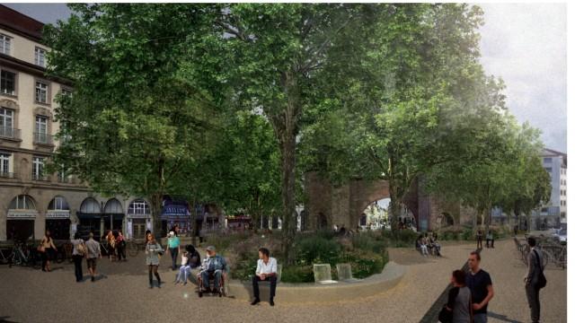 Altstadt: Ruhepol in der City: Die Pläne sehen vor, Büsche und Bäume zu pflanzen sowie Sitzgelegenheiten für die Passanten zu schaffen; im Bereich zur Herzog-Wilhelm-Straße soll Rasen angelegt werden. Auf der neu gestalteten Fläche sind überdies 44 zusätzliche Abstellmöglichkeiten für Fahrräder vorgesehen.