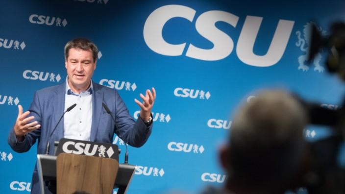 CSU-Ministerpräsident Markus Söder bei einer Rede