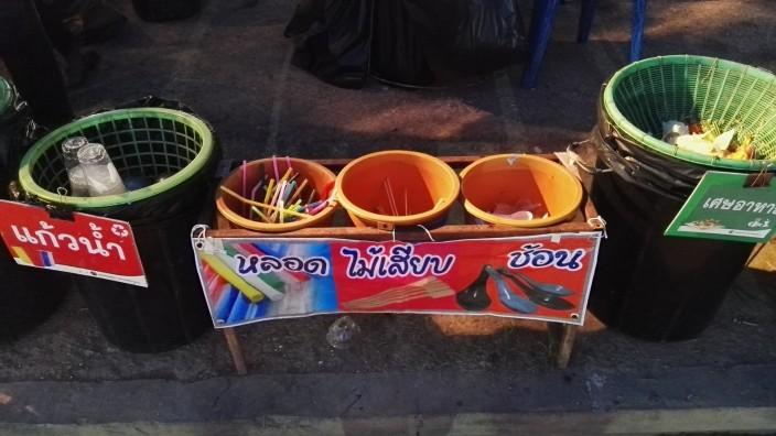 Umweltschutz: Mülltrennung in der Stadt Nan.