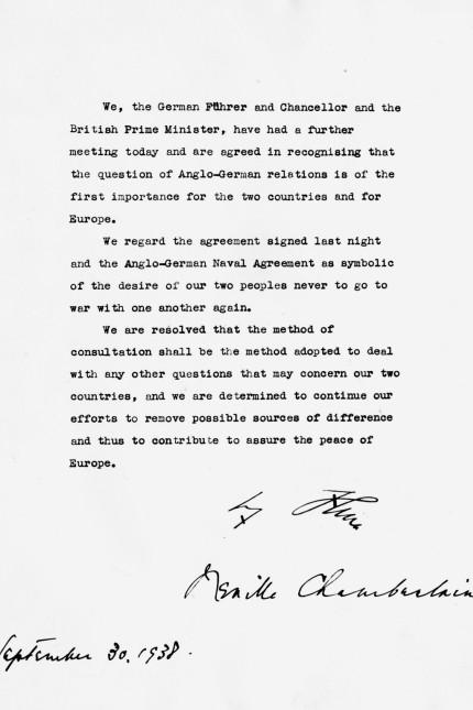 Gemeinsame Erklärung Hitlers und Chamberlains nach dem Münchner Abkommen, 1938