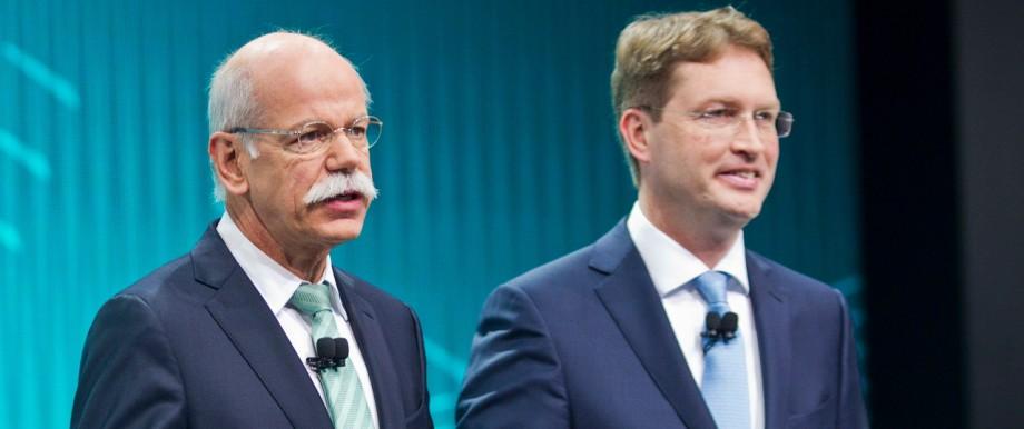 Daimler-Chef Dieter Zetsche und Ola Källenius auf der Auto Show in Detroit