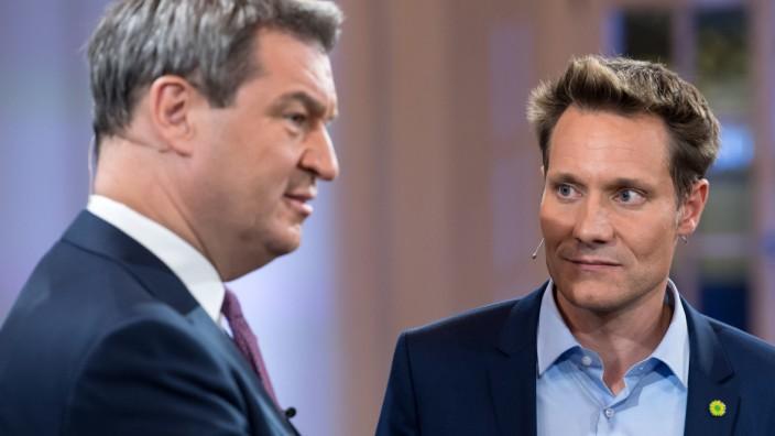 Söder und Hartmann beim TV-Duell zur Landtagswahl