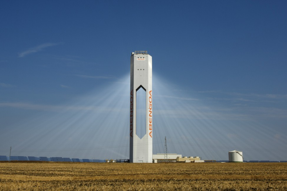 A tower belonging to the Abengoa solar plant at the 'Solucar' solar park is seen in Sanlucar la Mayor