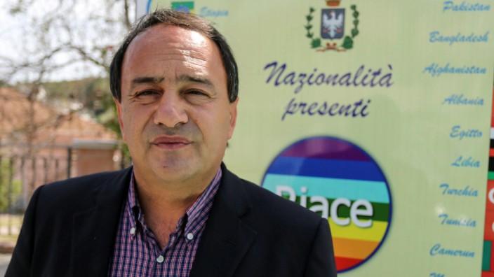 Mayor of Riace town, Domenico Lucano, poses in Riace