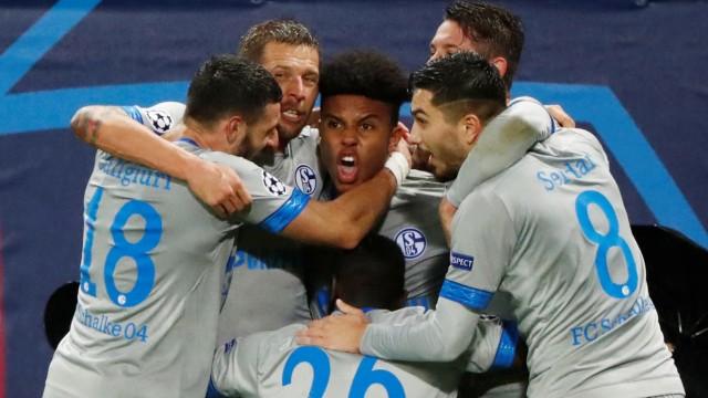 Spieler des FC Schalke 04 bejubeln ein Tor in der Champions League gegen Lokomotive Moskau