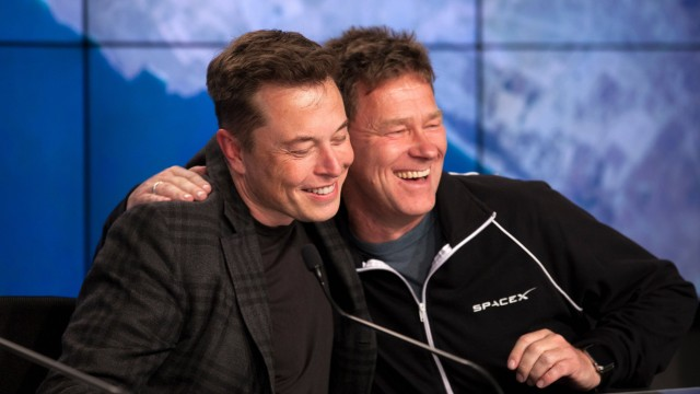 April 8 2016 Cape Canaveral Florida U S Billionaire and CEO of SpaceX Elon Musk is embraced