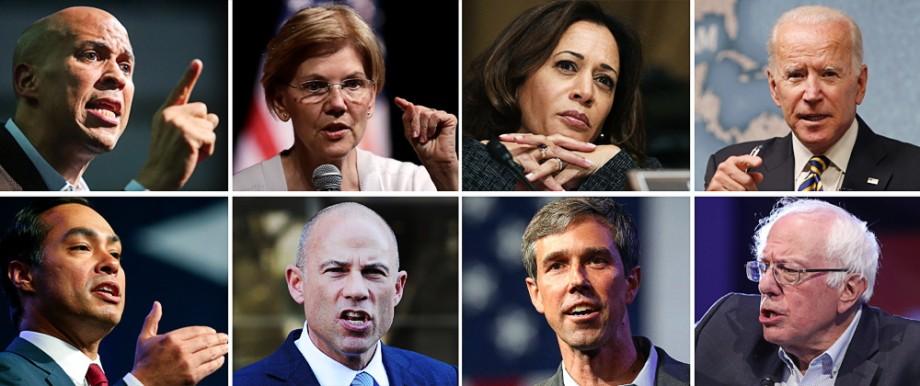 US-Demokraten 2020: Führende Demokraten gegen Trump (von links oben im Uhrzeigersinn in der Web-Ansicht: Cory Booker, Elizabeth Warren, Kamala Harris, Joe Biden, Bernie Sanders (derzeit parteilos), Beto O'Rourke, Michael Avenatti und Julian Castro.