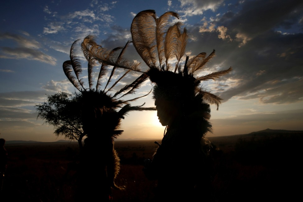 Dancers from the Kurya community are seen before performing in front of visitors to the Singita Grumeti Game Reserve, Tanzania