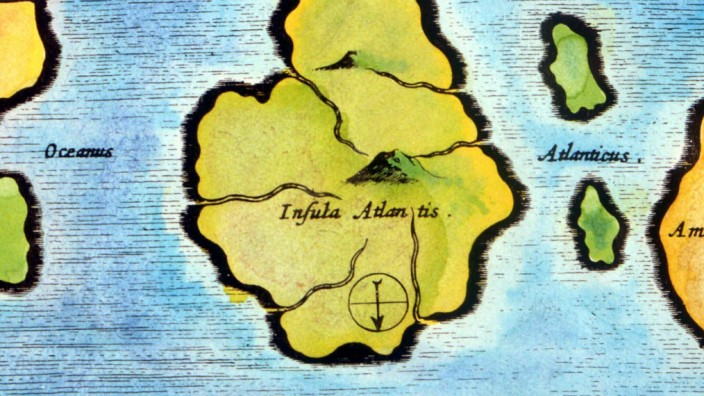 ATLANTIS Map according to the polymath Athansius Kircher 1602 1680 who based his account of th