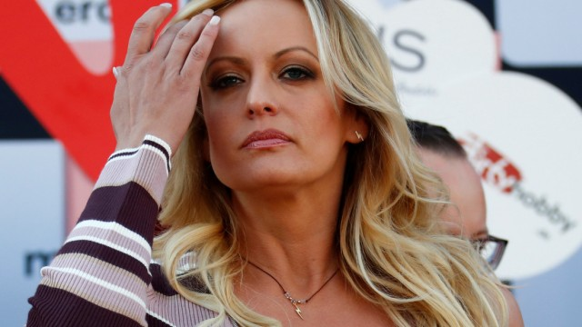 Adult film actress Stormy Daniels attends the Venus erotic fair in Berlin